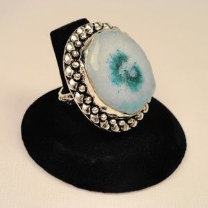 Jewelry - Sky Blue Solar Quartz geode slice .925 silver Ring
